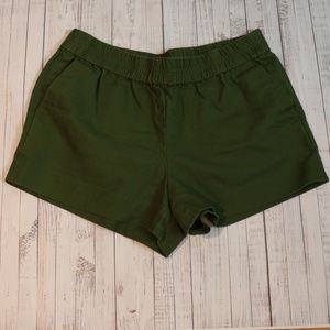 J. CREW WOMENS CANVAS OLIVE GREEN SHORTS SIZE 10